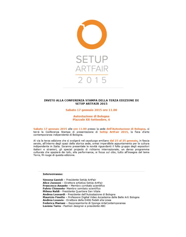Invito conferenza stampa SetUp Art Fair 2015